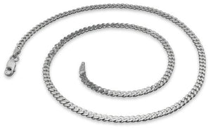 Rhodium Sterling Silver Curb Chain 3.0MM