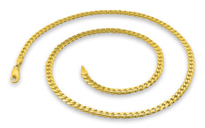 "14K Gold Plated Sterling Silver 22"" Curb Chain 4MM"