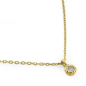 Solid 14K Yellow Gold Small Round Charm Diamond Necklace