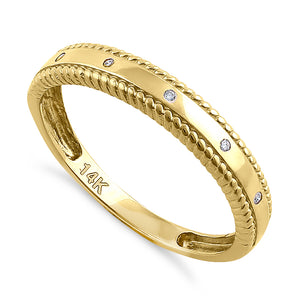 Solid 14K Yellow Gold Edged Double Rope Diamond Ring