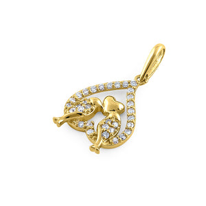 Solid 14K Yellow Gold Love Birds 0.18 ct. Diamond Pendant