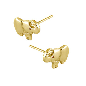 Solid 14K Yellow Gold Elephant Diamond Earrings