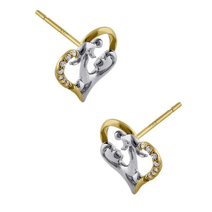 Solid 14K Yellow Gold Mother and Child Diamond Earrings