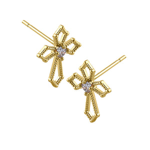 Solid 14K Yellow Gold Medieval Cross Diamond Earrings