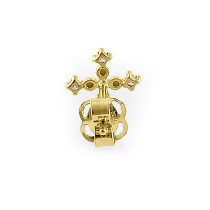 Solid 14K Yellow Gold Rounded Cross Diamond Earrings