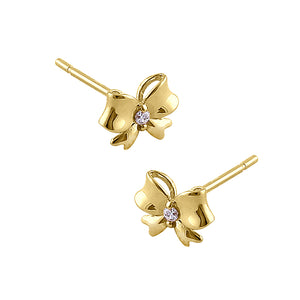 Solid 14K Yellow Gold Bow Diamond Earrings