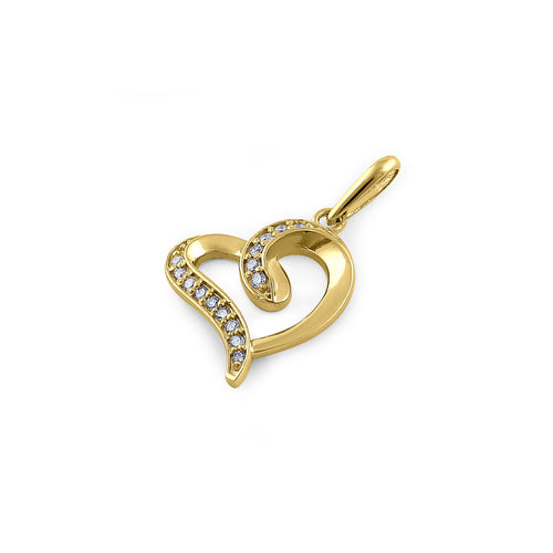 Solid 14K Yellow Gold Accent Heart 0.28 ct.Diamond Pendant