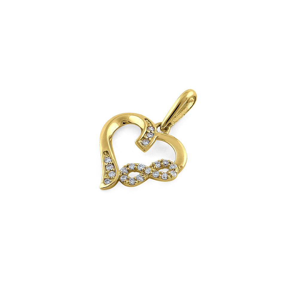 Solid 14K Yellow Gold Infinity Heart Diamond Pendant