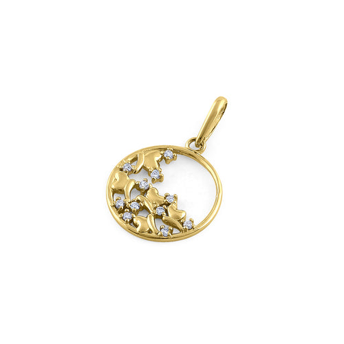 Solid 14K Yellow Gold Fall Leaves Diamond Pendant