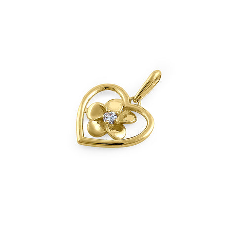 Solid 14K Yellow Gold Plumeria Heart Diamond Pendant