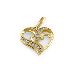 Solid 14K Yellow Gold Double Heart Diamond Pendant