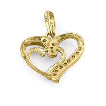 Load image into Gallery viewer, Solid 14K Yellow Gold Double Heart Diamond Pendant