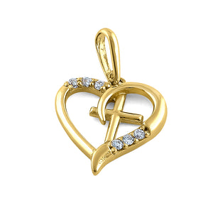 Solid 14K Yellow Gold Heart & Cross Diamond Pendant