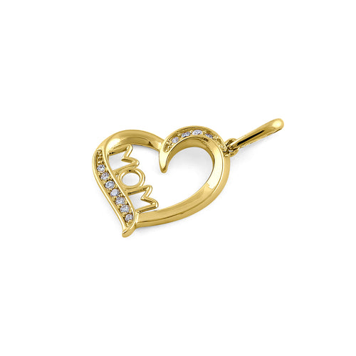 Solid 14K Yellow Gold Mom & Heart Diamond Pendant