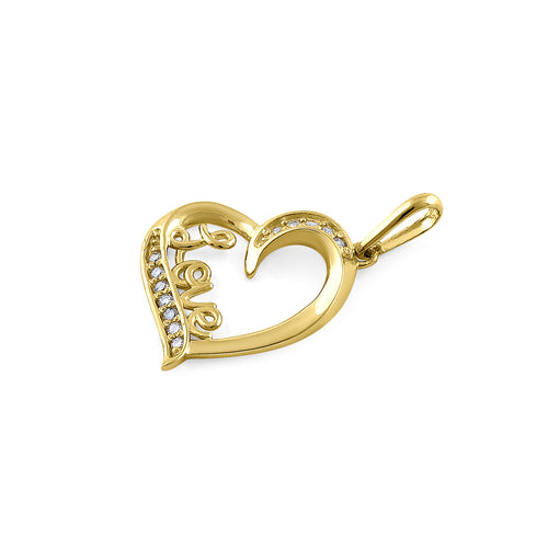 Solid 14K Yellow Gold Love & Heart Diamond Pendant