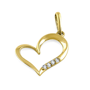 Solid 14K Yellow Gold Simple Heart Diamond Pendant