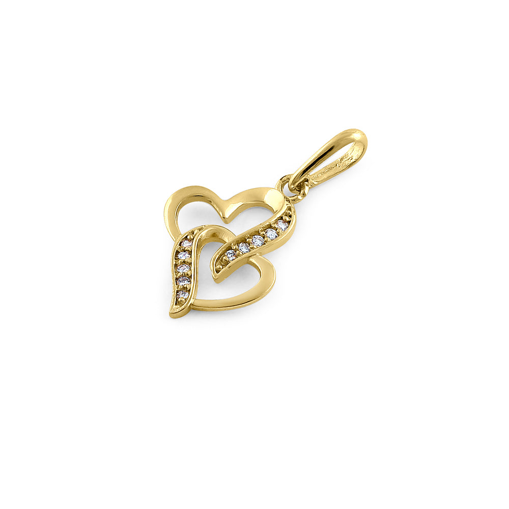 Solid 14K Yellow Gold Double Stack Heart Diamond Pendant