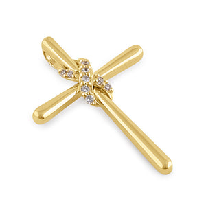 Solid 14K Gold Infinity Hugged Cross Diamond Pendant