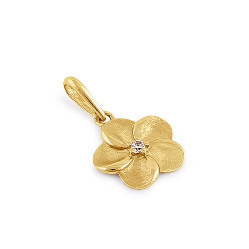 Solid 14K Gold Plumeria Diamond Pendant