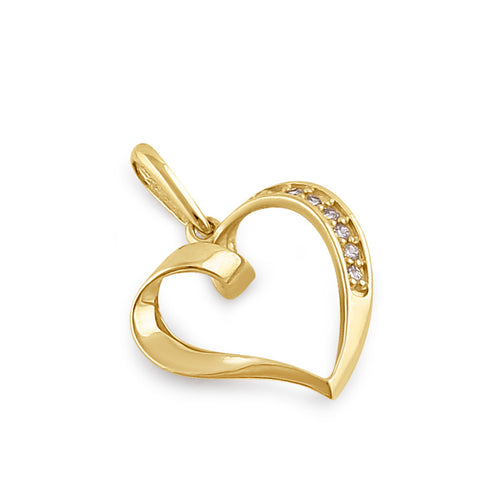 Solid 14K Gold Ribbon Heart Diamond Pendant
