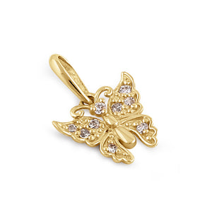 Solid 14K Gold Butterfly Diamond Pendant