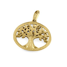 Load image into Gallery viewer, Solid 14K Yellow Gold Tree of Life Diamond Pendant