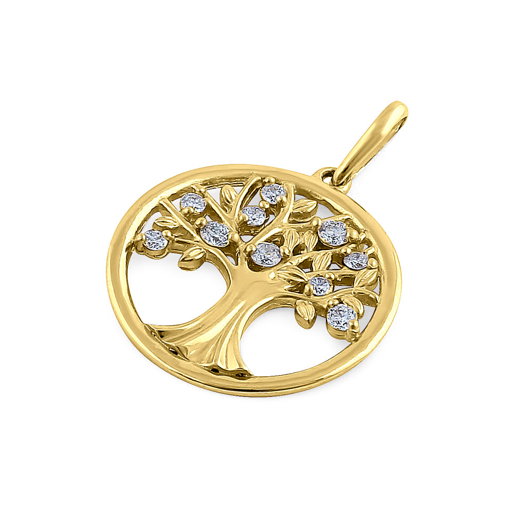 Solid 14K Yellow Gold Tree of Life Diamond Pendant