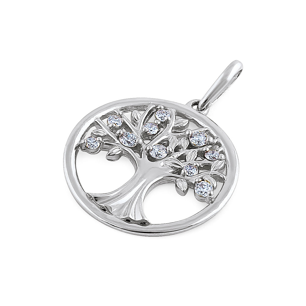 Solid 14K White Gold Tree of Life Diamond Pendant