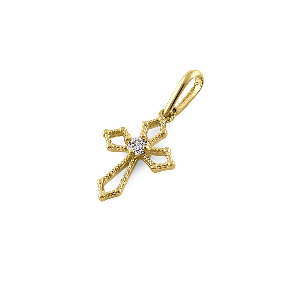 Solid 14K Yellow Gold Medieval Cross Diamond Pendant