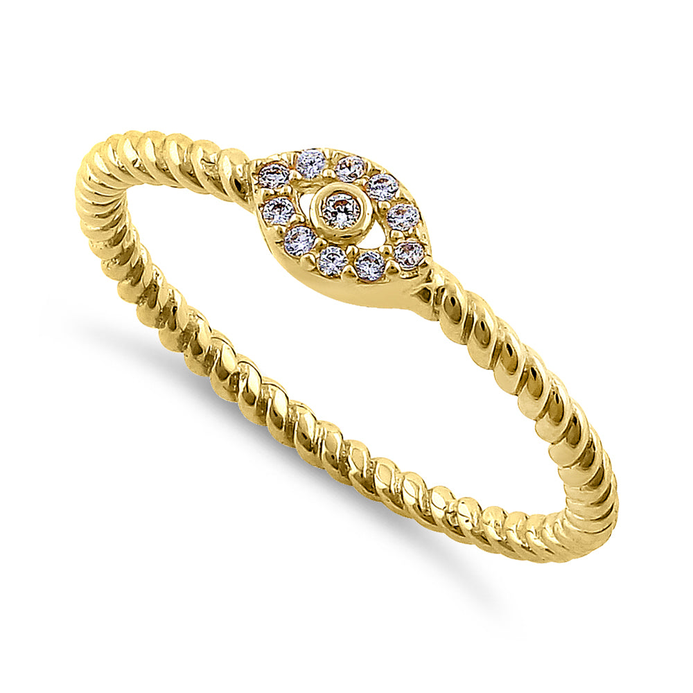 Solid 14K Yellow Gold Evil Eye Diamond Ring