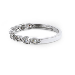 Solid 14K White Gold Half Eternity Round Marquise Pattern Diamond Ring