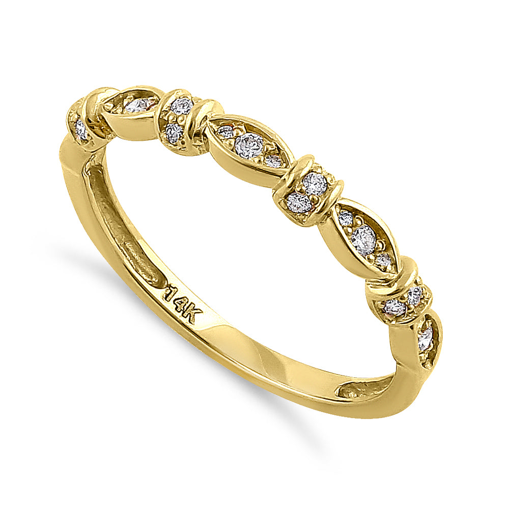 Solid 14K Yellow Gold Half Eternity Round Marquise Pattern Diamond Ring