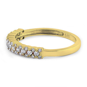 Solid 14K Yellow Gold Cluster 0.37 ct. Diamond Ring