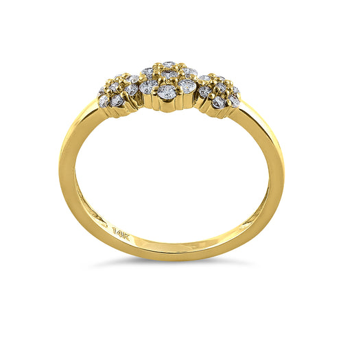Solid 14K Yellow Gold Flower Cluster Diamond Ring
