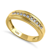 Load image into Gallery viewer, Solid 14K Yellow Gold Half Eternity Men's 0.21 ct. Diamond Band