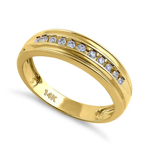 Solid 14K Yellow Gold Half Eternity Men's 0.21 ct. Diamond Band