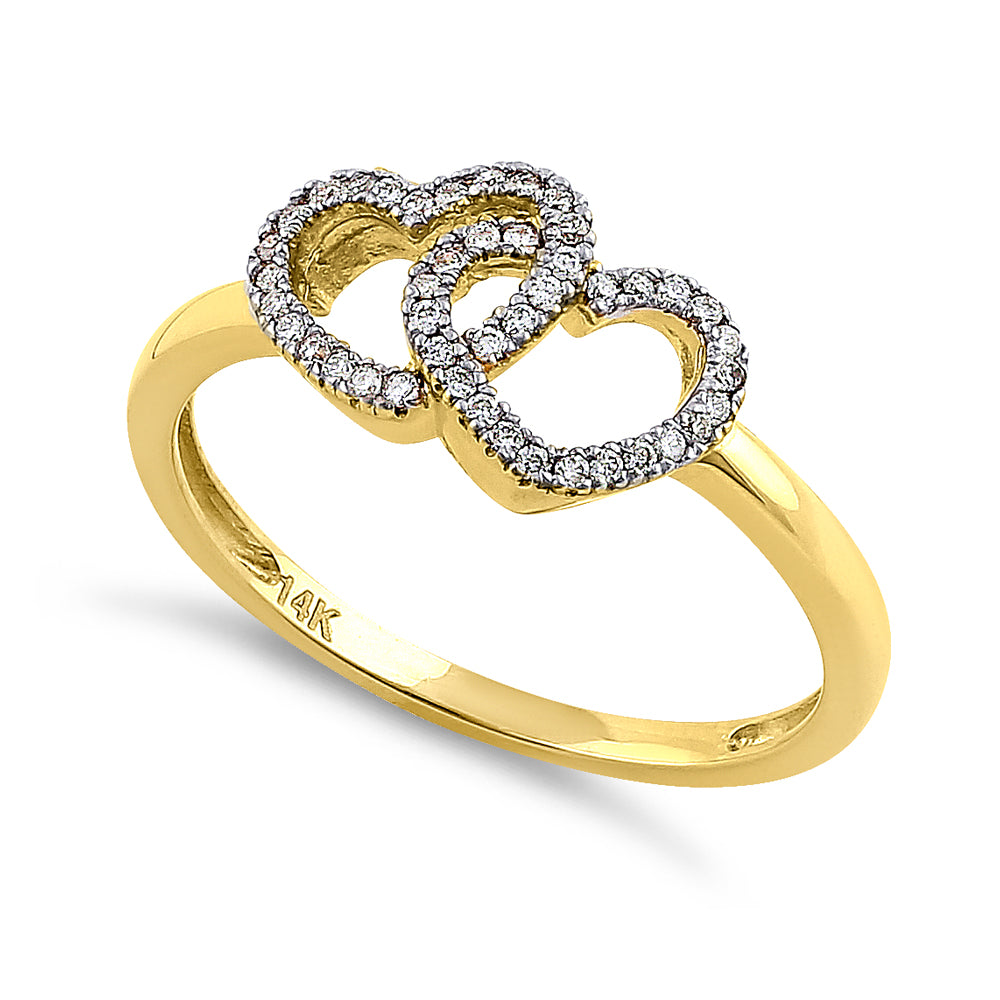Solid 14K Yellow Gold Double Heart 0.15 ct. Diamond Ring