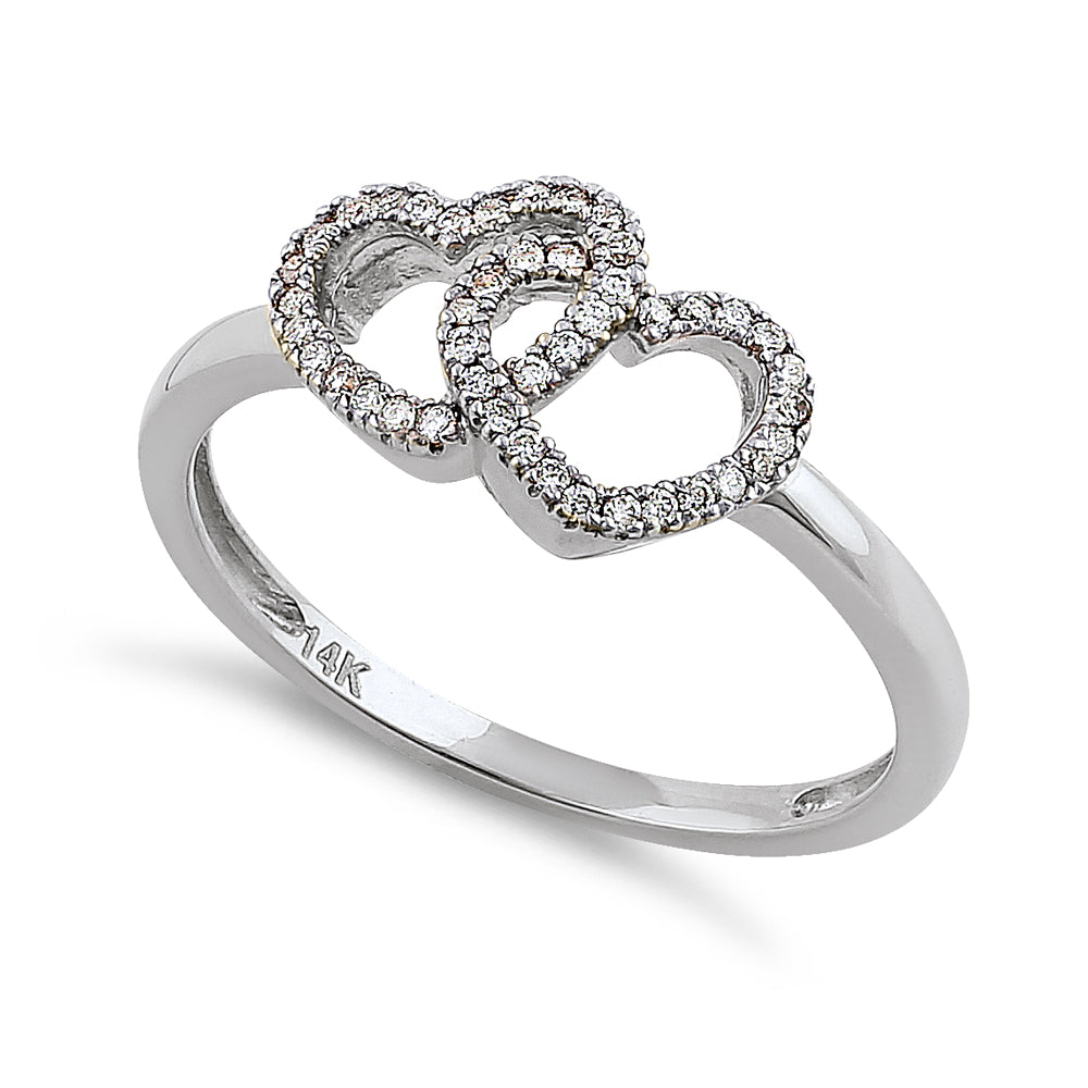 Solid 14K White Gold Double Heart 0.15 ct. Diamond Ring