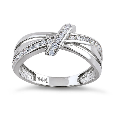 Solid 14K White Gold Twist Diamond Ring