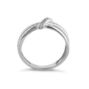 Solid 14K White Gold Twist 0.47 ct. Diamond Ring