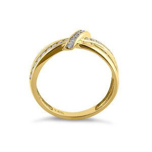 Solid 14K Yellow Gold Twist 0.47 ct. Diamond Ring