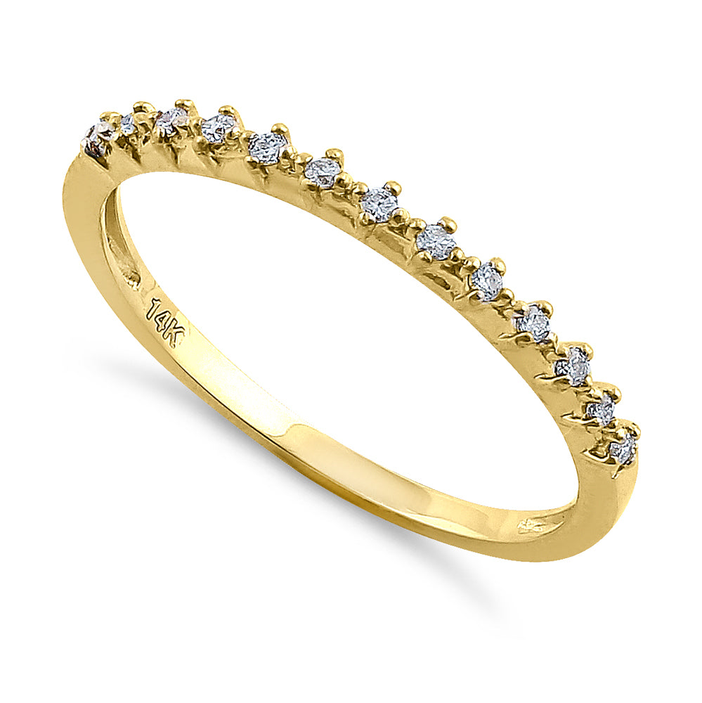 Solid 14K Yellow Gold Single Row 0.10 ct. Diamond Ring