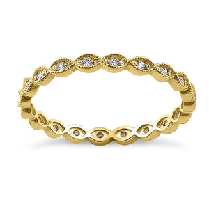 Solid 14K Yellow Gold Oval Pattern 0.17 ct. Diamond Eternity Band