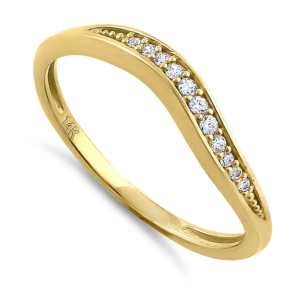 Solid 14K Yellow Gold Curve Diamond Ring