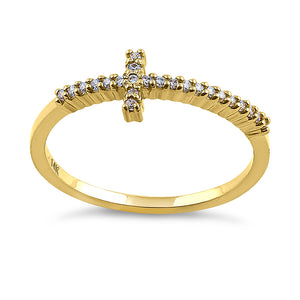 Solid 14K Yellow Gold Cross 0.13 ct. Diamond Ring