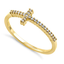 Load image into Gallery viewer, Solid 14K Yellow Gold Cross 0.13 ct. Diamond Ring
