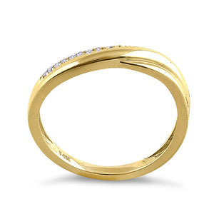 Solid 14K Yellow Gold Elegant Curve Diamond Ring