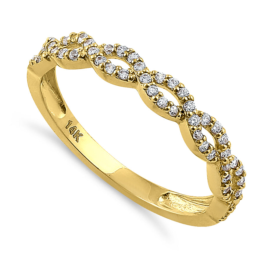 Solid 14K Yellow Gold Simple Twist 0.26 ct. Diamond Ring