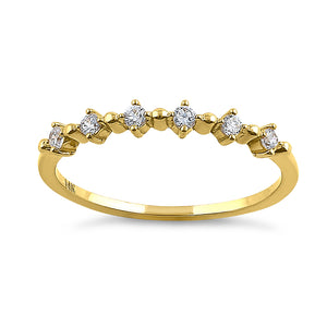 Solid 14K Yellow Gold Classic Row 0.18 ct. Diamond Ring