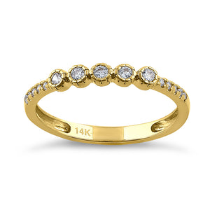 Solid 14K Yellow Gold Simple Round 0.30 ct. Diamond Ring